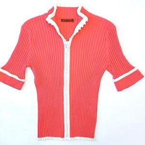 Belldini Coral SS Rhinestone Zip Knit Top